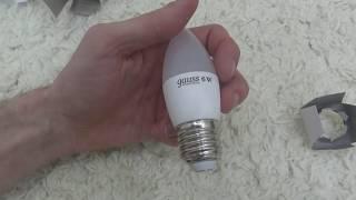 Обзор Светодиодная лампа Gauss LED Elementary Candle 6W E27 4100K 33226