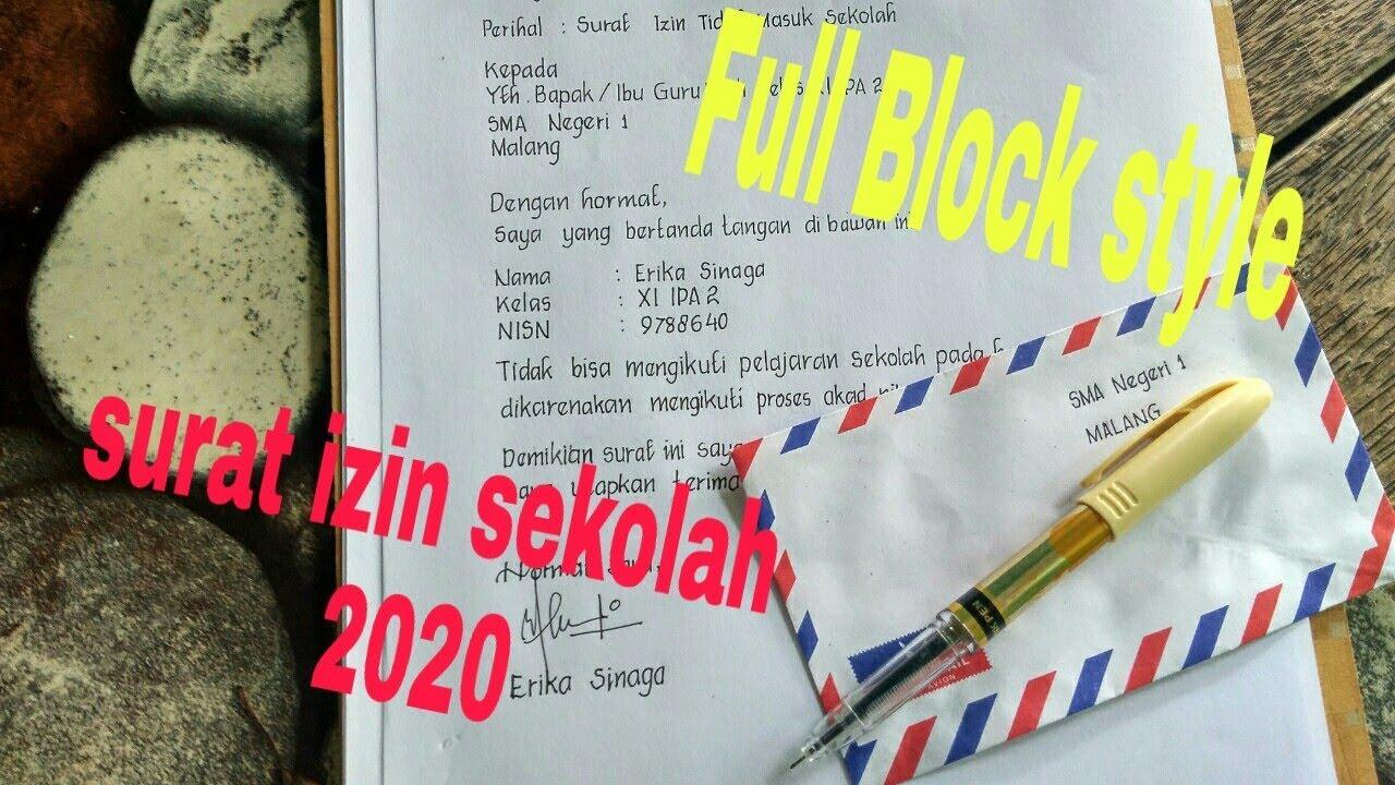 contoh membuat surat izin sekolah 2020 _bentuk Full Block ...