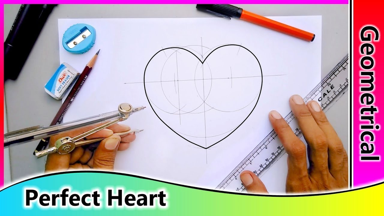 How To Draw A Perfect Heart Shape With Geometry Youtube