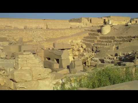 Walking on the sacred mound of Osiris,beside Osireion in Abydos