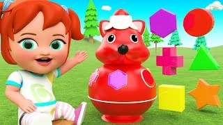 Fox Shapes Wooden Toy Set - Learn Colors & Shapes for Kids with Little Baby Fun Play 3D Children Edu