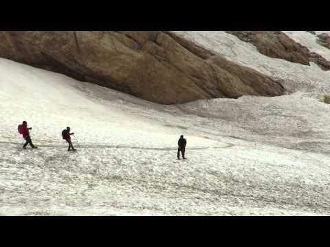 Snowfield downhill on Zard-Kuh pass (Zagros mountain, Iran)