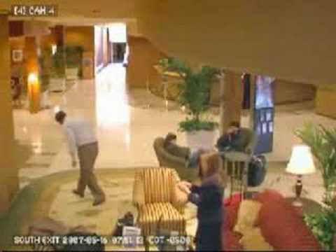 Business Man Freaks Out In Hotel Lobby