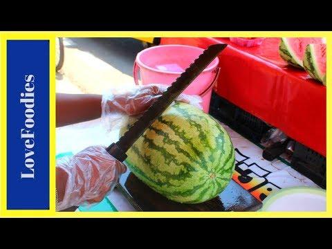 FRUIT NINJA of WATERMELON   Amazing Fruits Cutting Skills   Indian Street Food in 2018