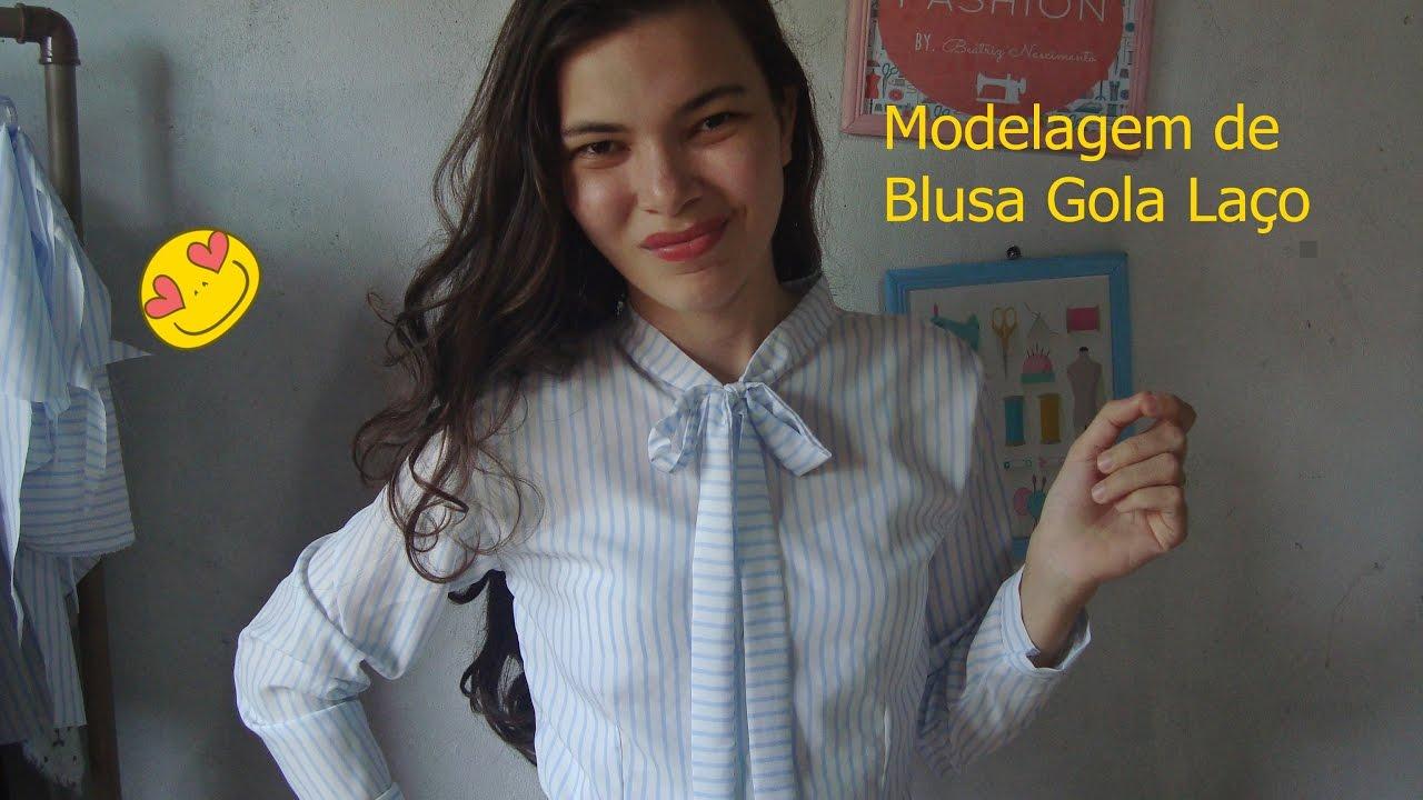 d703523fc Modelagem de Blusa Manga  Longa  e Gola Laço - YouTube
