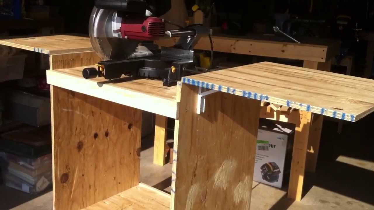 Dewalt Table Saw Stand With Wheels DIY Mitersaw Table - YouTube