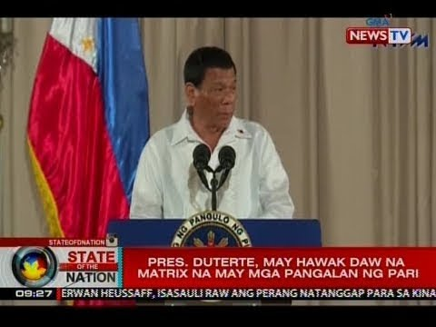SONA: Pres. Duterte, may hawak daw na matrix na may mga pangalan ng pari