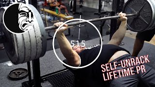 Lifetime Bench PR - Self-Unrack 515lbs - Virtual Coach Brandon Morg