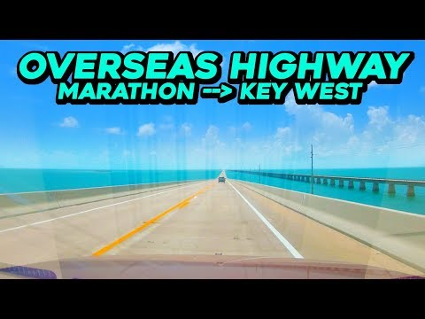 Driving OVERSEAS HIGHWAY - From Marathon to Key West - US Highway 1