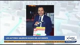 Actores Mabel Moreno e Iván López se accidentan en carretera