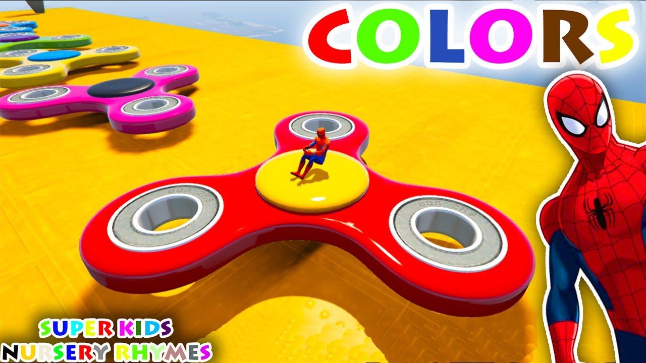 color fidget spinner u0026 mcqueen cars with spiderman superheroes