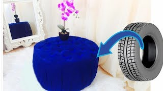 Luxury tufted ottoman from a tyre.Creative way to re purpose and save money