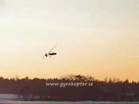 Gyrocopter on frozen lake in Orsa, Sweden