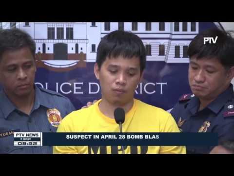 Suspect in April 28 Bomb Blast in Quiapo now in Manila Police Custody