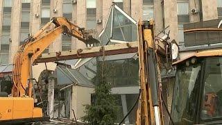 На Тверской улице в Москве сносят торговый центр «Пирамида».