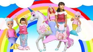 バービー と人魚姫ごっこ ☆ マーメイドのベビーシッターセット と キラキラユニコーン で遊んだよ!/ Barbie dreamtopia mermaid nursery playset
