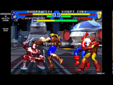 Avengers in Galactic Storm / arcade attract mode opening title & auto demo / fighting game / 1995