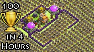 Clash of Clans 'Trap Arena TROLL BASE' + 100 Cups Won in 4 Hours COC Funny Moments Defense Replays