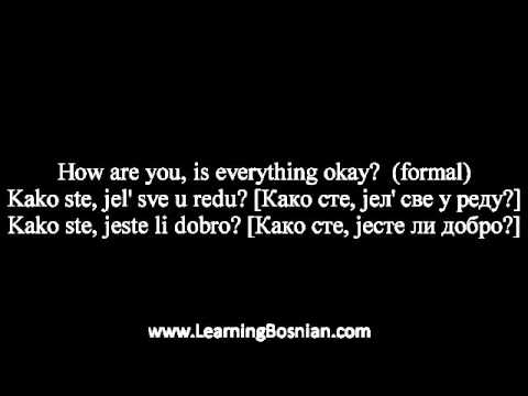 """Learn Bosnian - how to say """"how are you,""""  and  """"pleased to meet you"""" and more"""