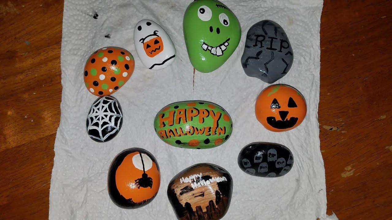 Diy Halloween Painted Rocks Rock Hiding Game Youtube