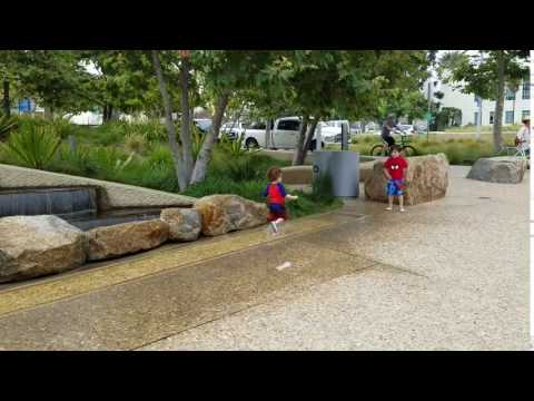 Racing in puddles at Tongva Park