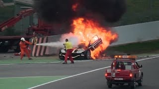 CAR ENGINE CRASH - CAR on FIRE !! (Huge flames & Smoke) +5 min Fireman service