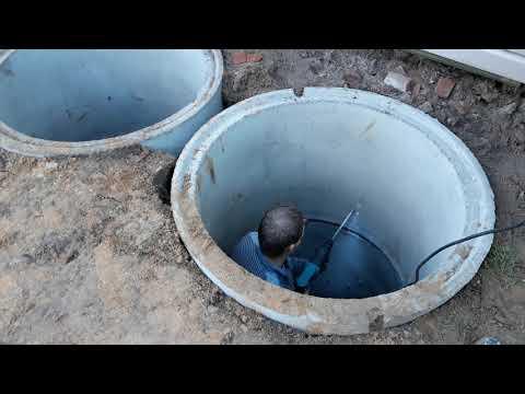 Септик из бетонных колец с переливом +7(905)602-48-88