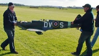 LARGE 1/4 SCALE MICK REEVES RC SPITFIRE EP TEST FLIGHT AT LMA RC MODEL AIRCRAFT SHOW ROUGHAM - 2013