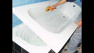Акриловый вкладыш в ванну до и после выполнения работ