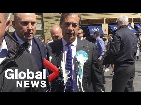 Brexit Party leader Nigel Farage splattered by milkshake on EU campaign trail