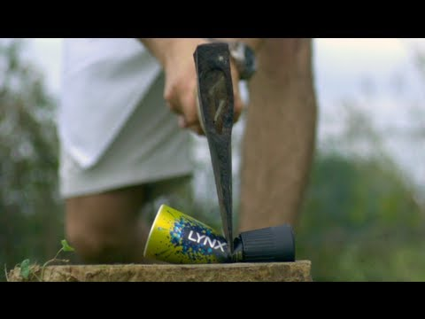 Axe Through a Deodorant Can - The Slow Mo Guys