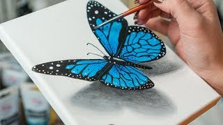 Blue Morpho Butterfly  - Acrylic painting / Homemade Illustration (4k)