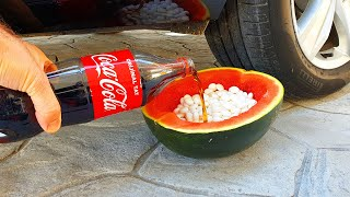 Experiment !! CAR vs Watermelon and Coca Cola Mentos I Crushing Crunchy & Soft Things by Car!