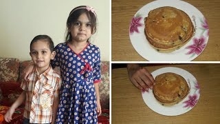 6 years old girl making  Fluffy chocolate chip pancake For Brother.Quick recipe kitchen With Fatima*