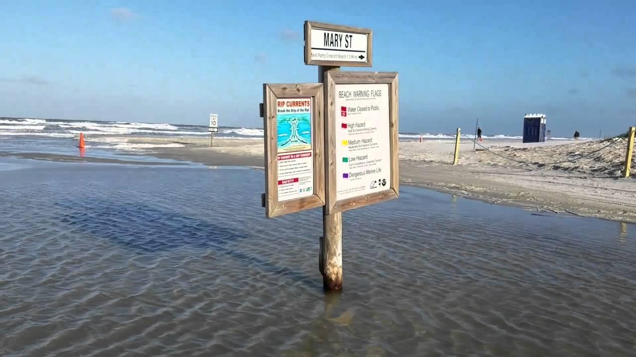 Strong Winds High Surf Flooding Butler Beach Fl 4 17 2016