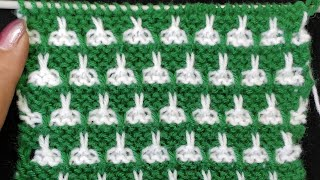 Slip Stitch Knitting Pattern, Bunny in the Forest,  For baby dresses, Sweaters, Cardigans, Pullovers