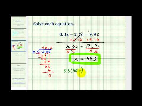 Solving Two Step Equations Involving Decimals - YouTube