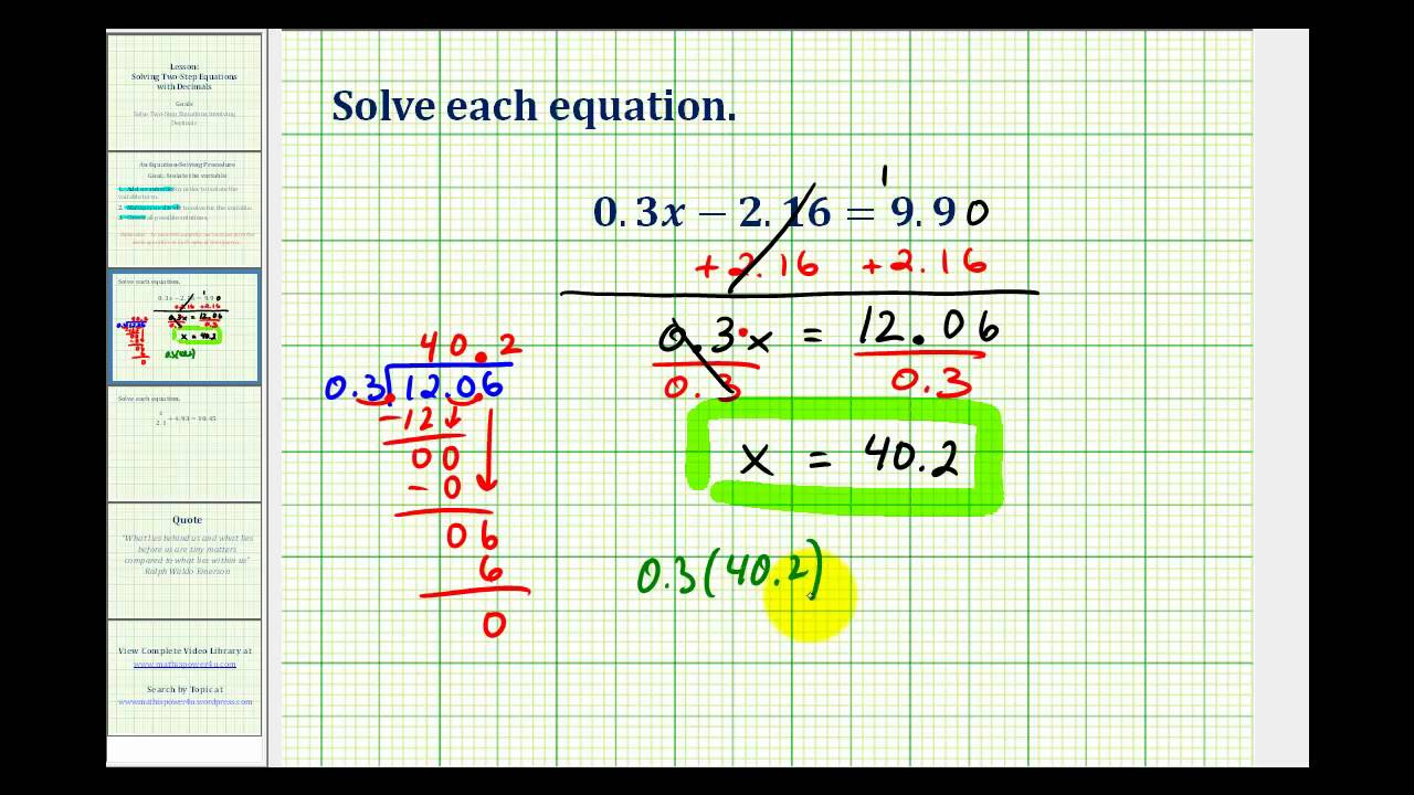 small resolution of Solving Two-Step Equations (video lessons