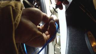 How to fish speaker wire through molex connectors and door boots, start to finish.
