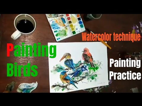 Speed watercolour painting Birds - Bali