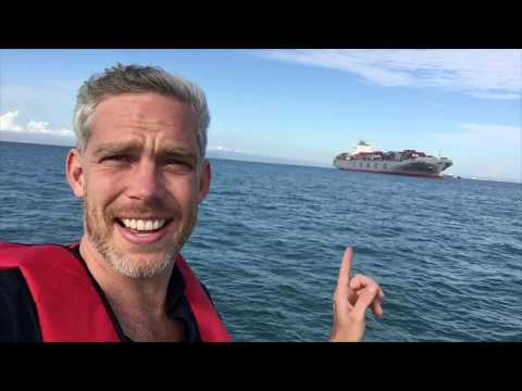 VLOG 042 Filming on an enormous container ship in the Straits of Singapore