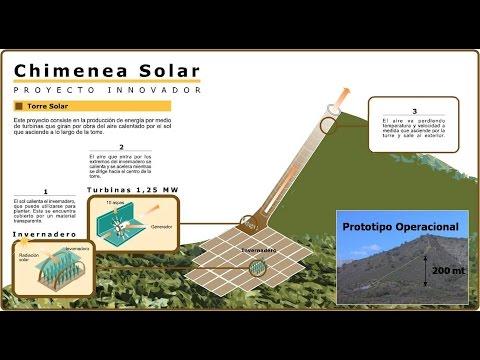 Chimenea Solar apoyada en una montaña