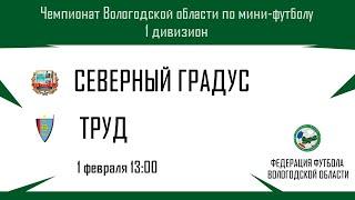 1300 ⚽ Северный градус – Труд. Чемпионат Вологодской области. 1 дивизион. Мини футбол