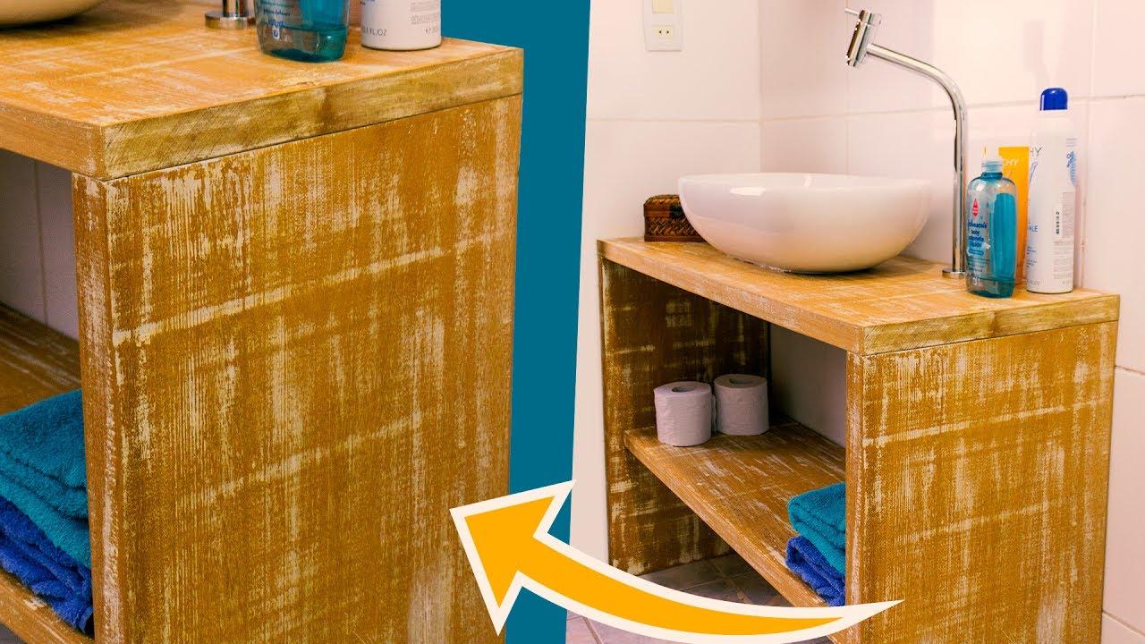 DIY  BANCADA PIA DE BANHEIRO  Reforma Banheiro Pequeno  YouTube -> Banheiro Pequeno Diy