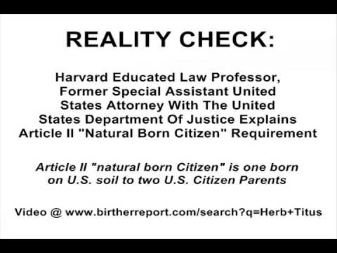 Broadcaster Seeks Info About Article II Natural Born Citizen Requirement