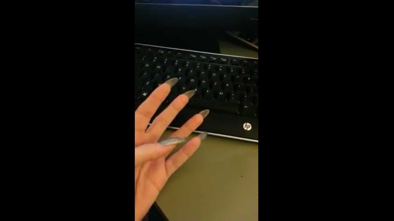 kvmanon\'s pointed long nails (video 2) - YouTube