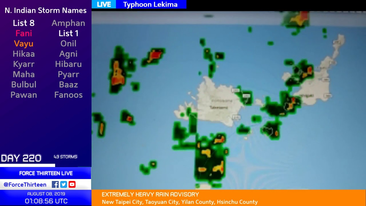 Typhoon Lekima Coverage - 9am CST August 8, 2019