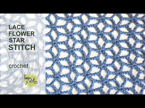 Lacy Crochet Stitches Youtube : Tutorial Lace Star Flower Crochet Stitch in English - YouTube