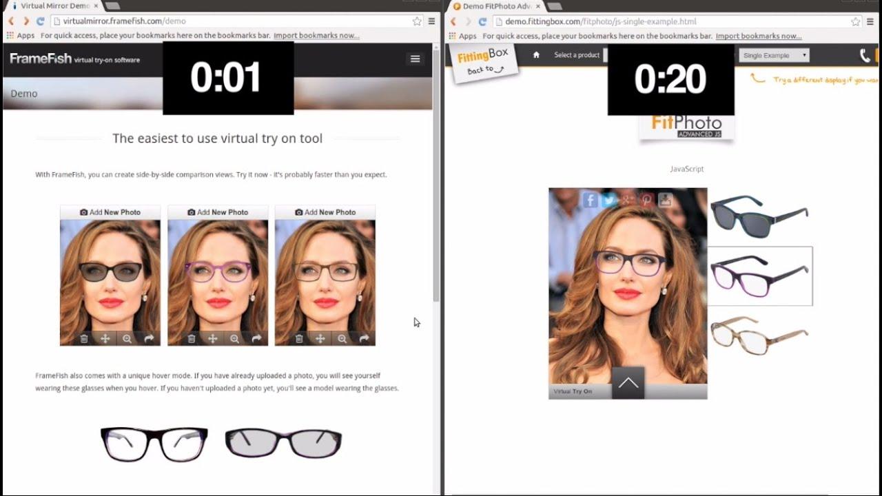 Frame Finder Virtual Eyeglass Try On : Glasses Virtual Try On: FrameFish vs. Fitting Box Speed ...