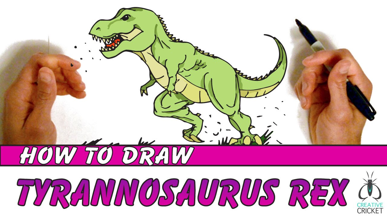 cartoon dinosaurs for kids draw t rex fast youtube